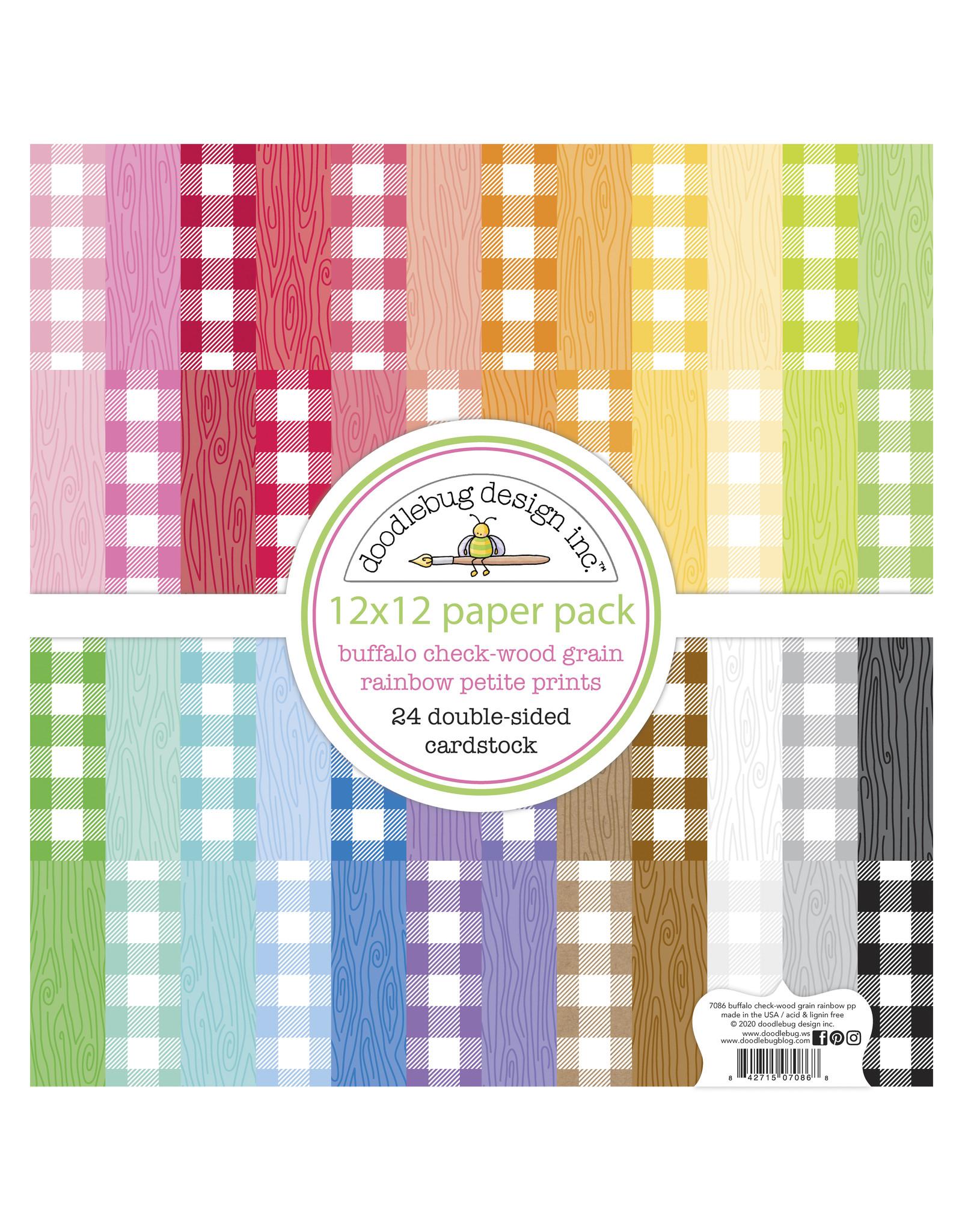 Doodlebug Design buffalo check-woodgrain rainbow petite prints pack