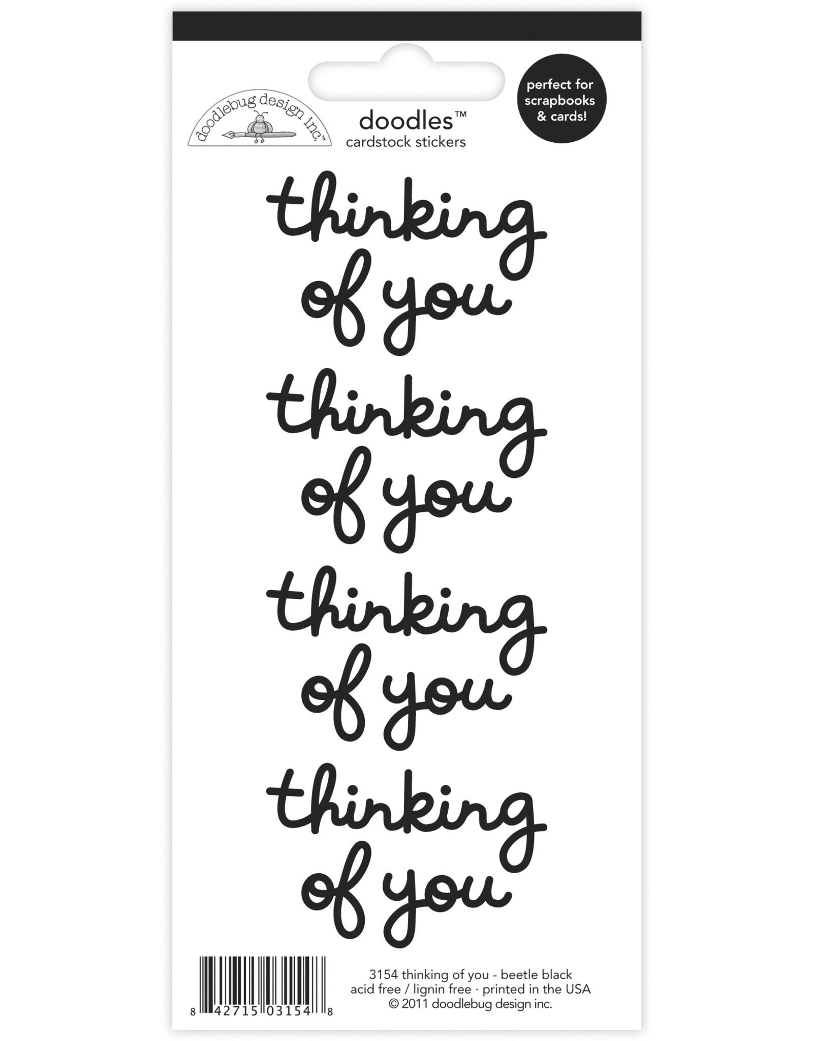 Doodlebug Design beetle black thinking of you doodles cardstock sticker