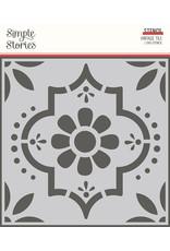 Simple Stories Apron Strings  -  6x6 Stencil- Vintage Tile