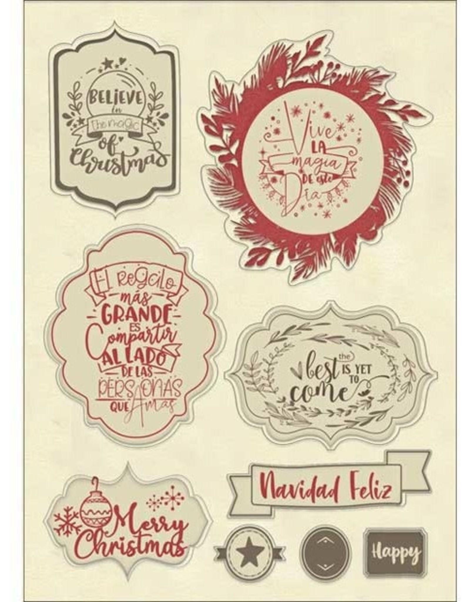 Stamperia A6 Colored Wood Frames, Gratitud - Christmas label