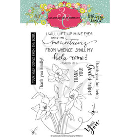Colorado Craft Company Clear Stamp, Whimsy World - Lift My Eyes Daffodils