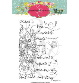 Colorado Craft Company Clear Stamp, Whimsy World - Whatsoever Things Spray