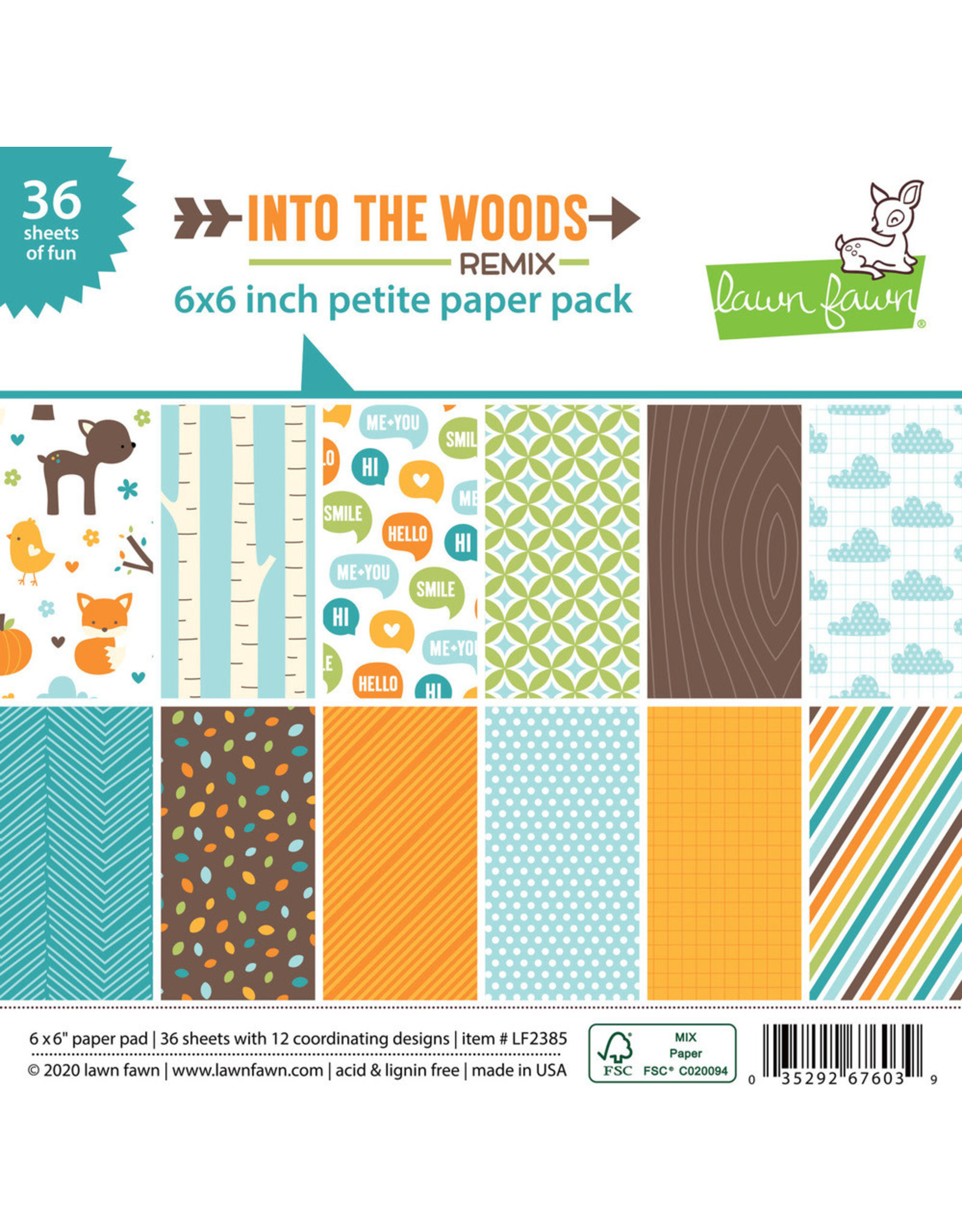 Lawn Fawn 6X6 Petite Paper Pack, Into The Woods Remix
