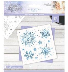 Crafter's Companion Sara Signature Stencil, Glittering Snowflakes - Snow Is Falling
