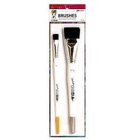 """Dina Wakley Media Dina Wakley MEdia Brush Set, Synthetic Bristle (1 1/2"""", 1/2"""")"""