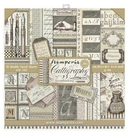 Stamperia Scrapbooking Mini Pad - 10 sheets 8x8 - Calligraphy