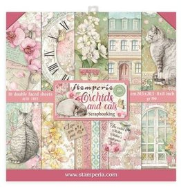 Stamperia Scrapbooking Mini Pad - 10 sheets 8x8 - Orchids and Cats
