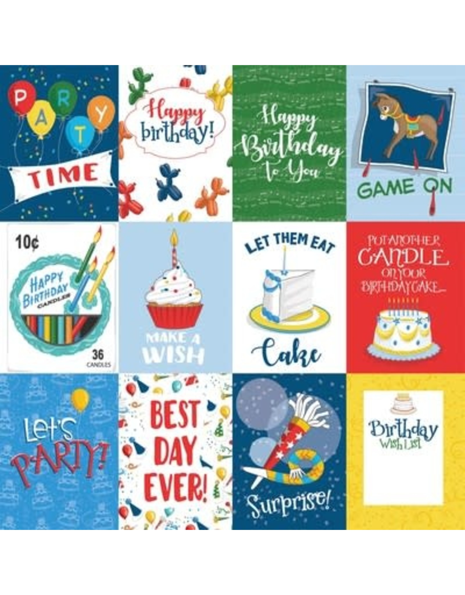 Echo Park 12X12 Patterned Paper, Let's Celebrate - 3X4 Journaling Cards