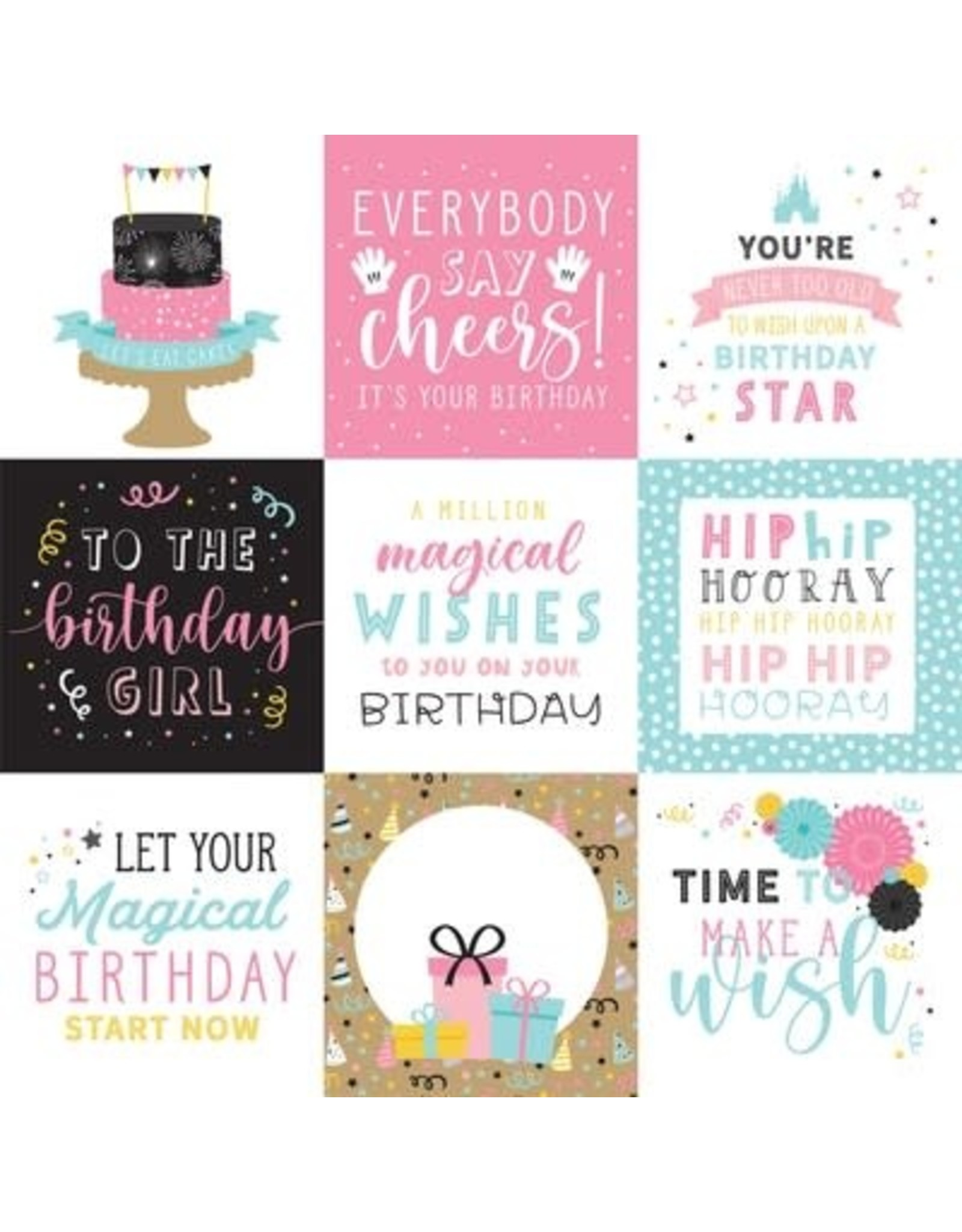 Echo Park 12X12 Patterned Paper, Magical Birthday Girl - 4X4 Journal Card