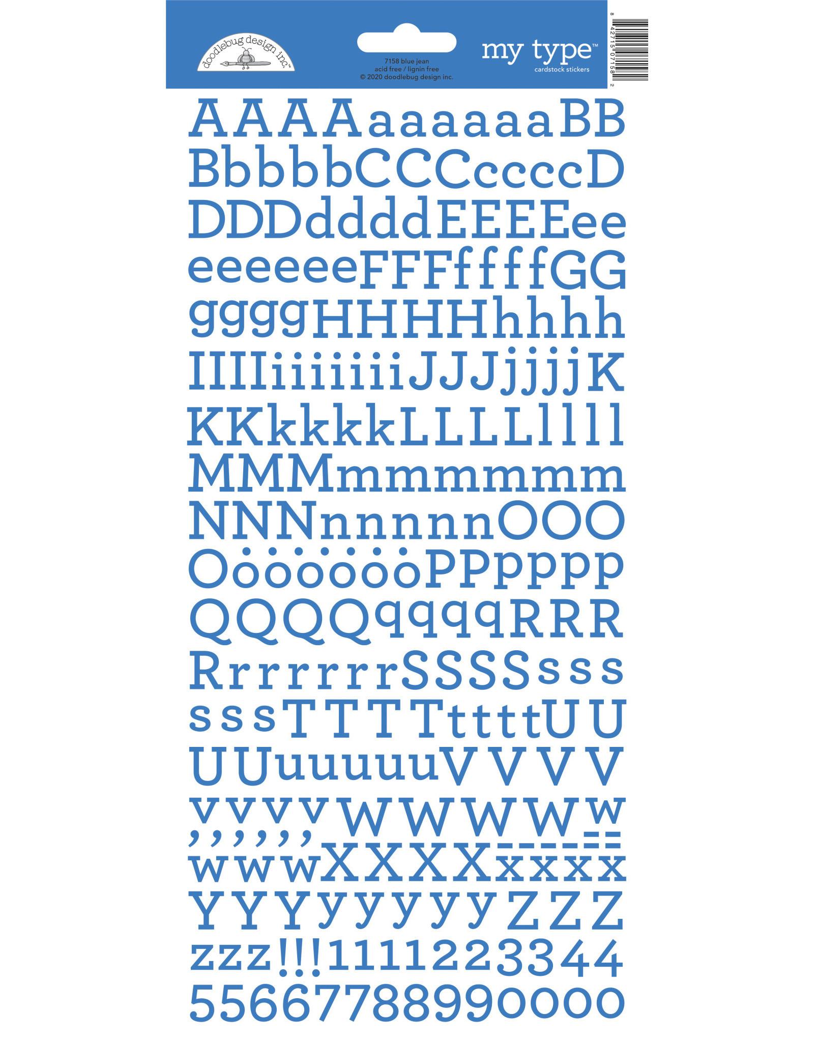 Doodlebug Design blue jean my type cardstock sticker
