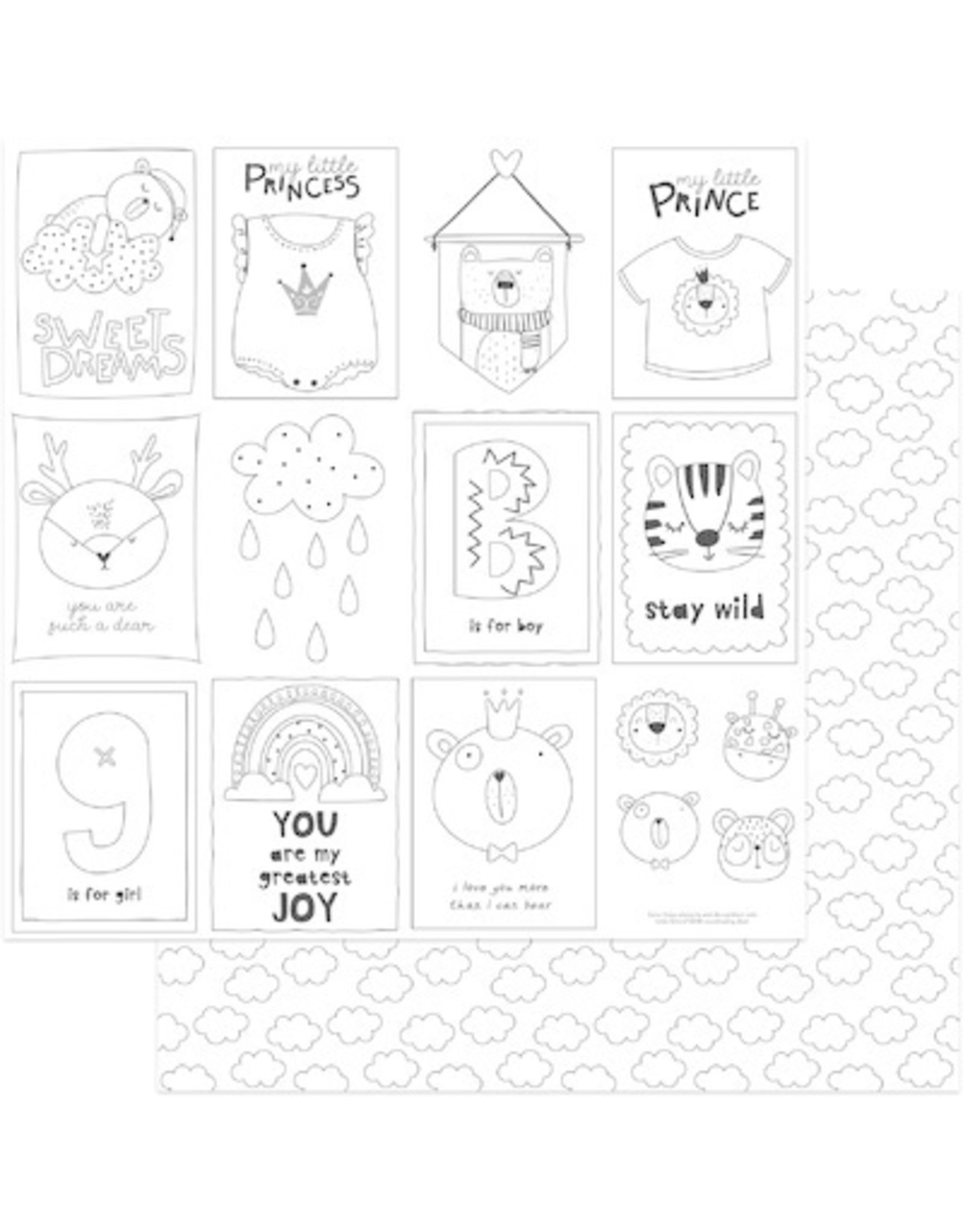 PHOTOPLAY 12X12 Color Me Cards, Little One Color Me