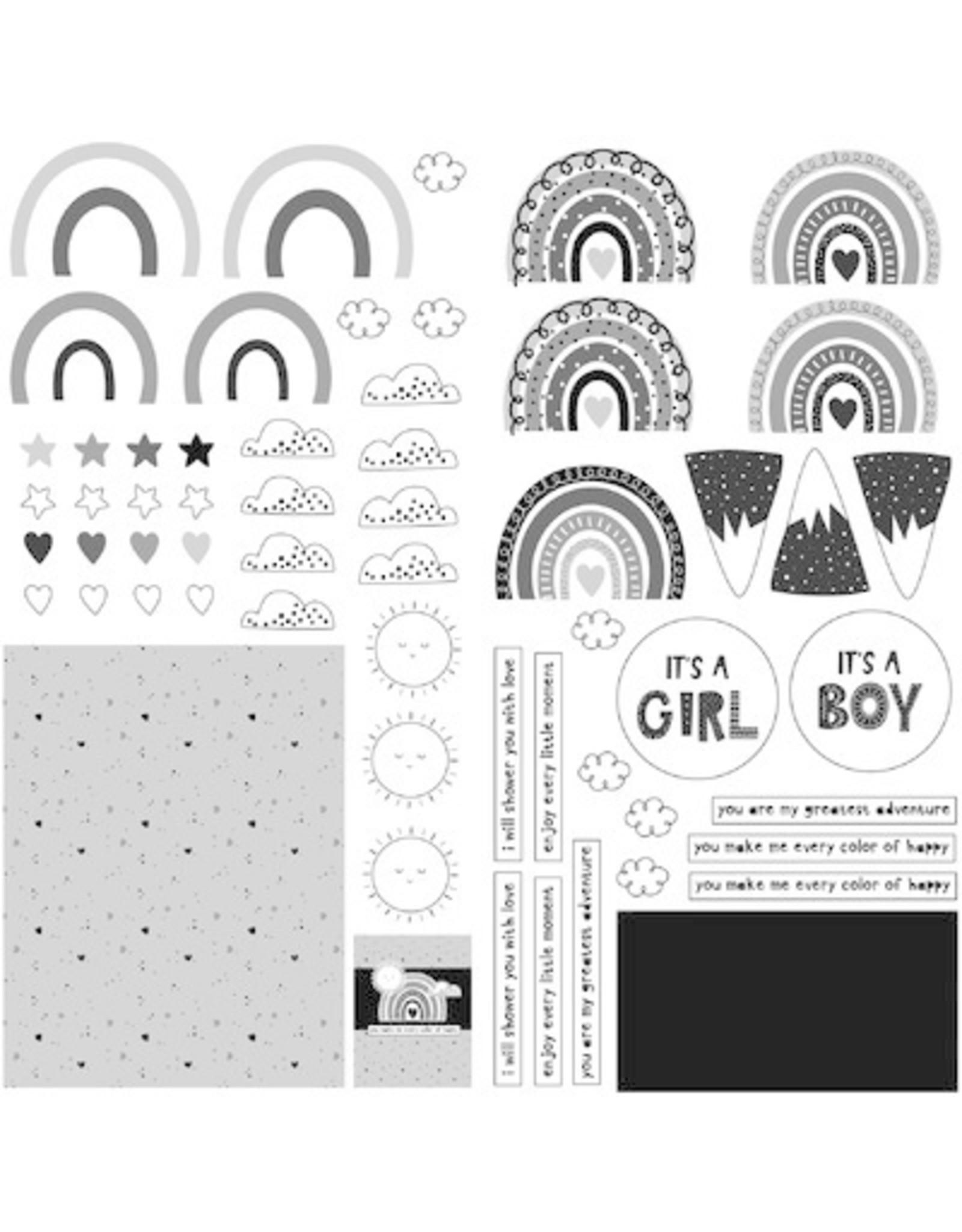 PHOTOPLAY 12X12 Die Cut Paper, Little One - Rainbows