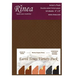 Rinea Earth Tones Foiled Paper Artist's Pack 12 sheets 4x6