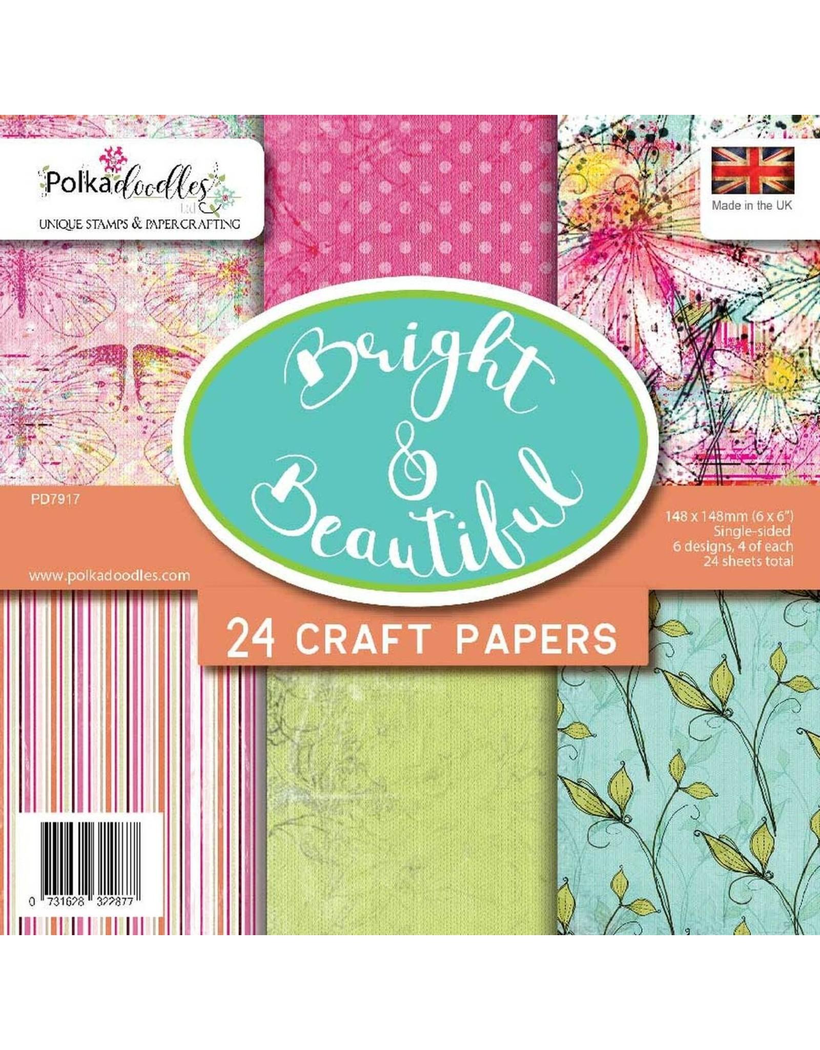 "Polkadoodles Bright & Beautiful - 6 x 6"" paper pack - 24 sheets"