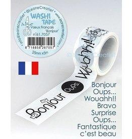 Leane Creatief BV Washi Tape French Words 1 Bonjour 25mmx5m