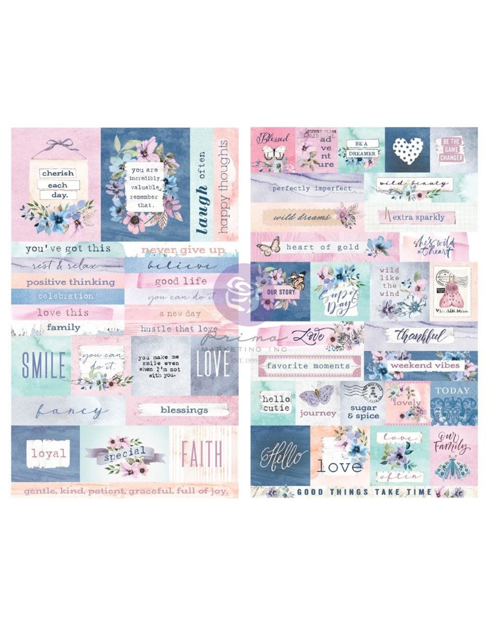 PRIMA MARKETING INC 2/SHEETS  -WATERCOLOR FLORAL STICKERS