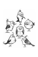 Stampers Anonymous BIRD CRAZY-CLING RBBR STAMP SET