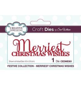 Creative Expressions Festive Merriest Christmas Wishes Dies by Sue Wilson