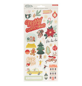Crate Paper Busy Sidewalks Collection - Christmas - 6 x 12 Cardstock Stickers with Gold Foil Accents