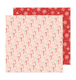 Crate Paper Busy Sidewalks  - Candy Cane Christmas - 12 x 12  Paper