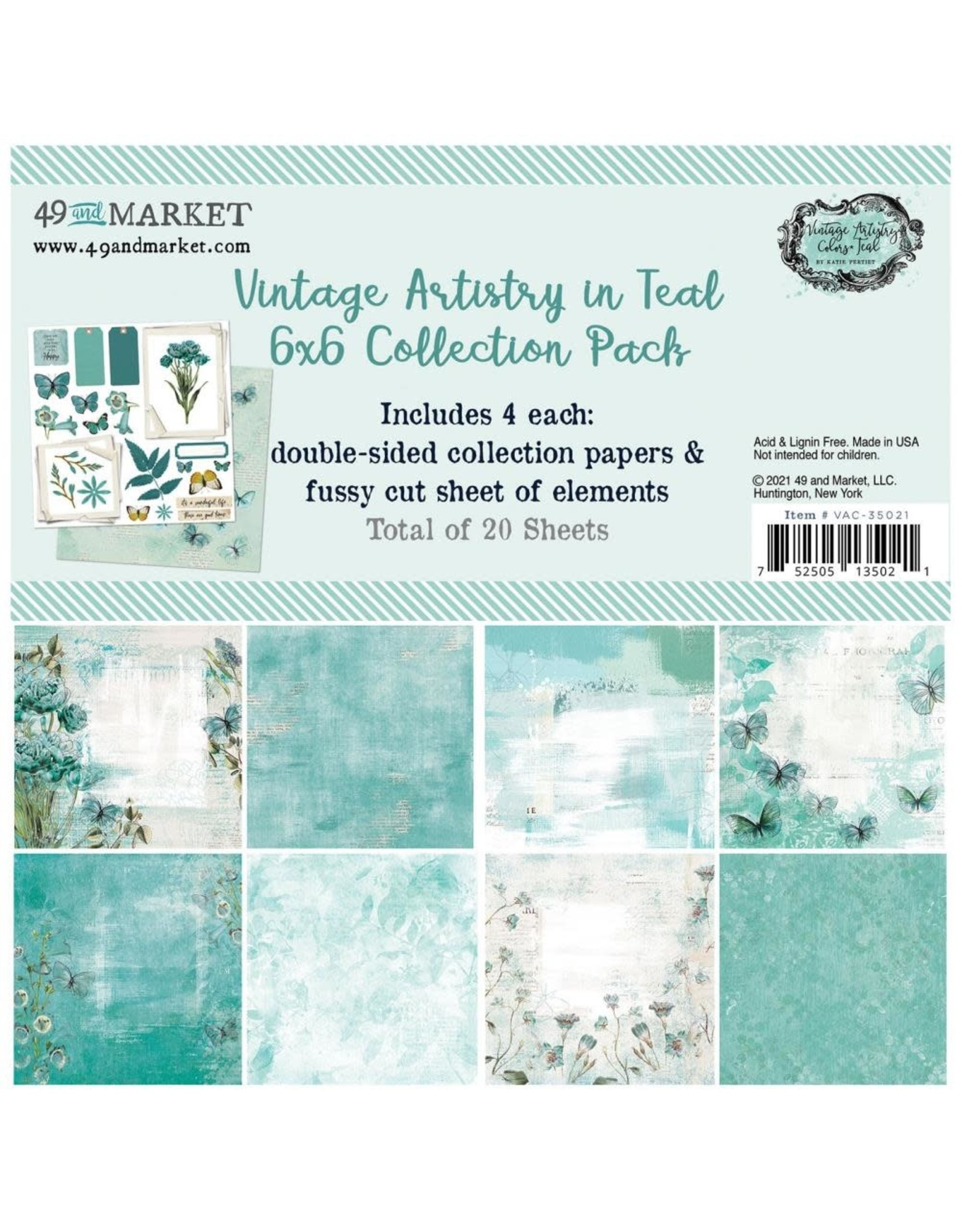 49 AND MARKET 6X6 PACK  -VA IN TEAL COLLECTION