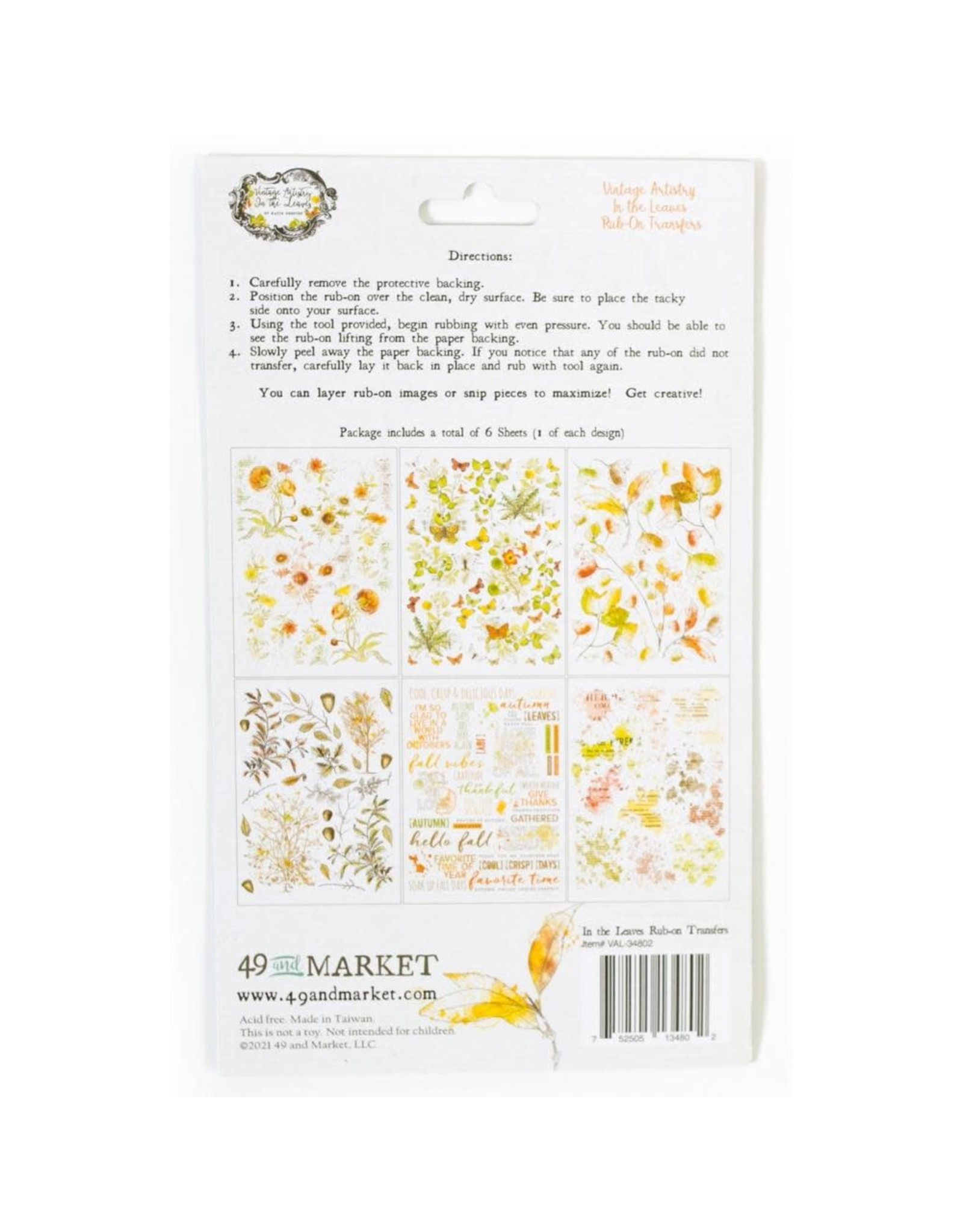 49 AND MARKET 6X8 6/PKG -VA IN THE LEAVES RUB-ONS