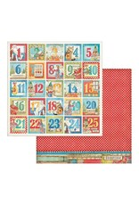 Stamperia Advent Calendar, Christmas Patchwork 12x12 patterned paper