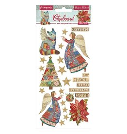 """Stamperia Stamperia Christmas Patchwork Adhesive Chipboard 6""""X12"""""""