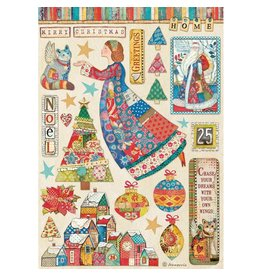Stamperia Stamperia Christmas Patchwork Rice Paper Sheet A4