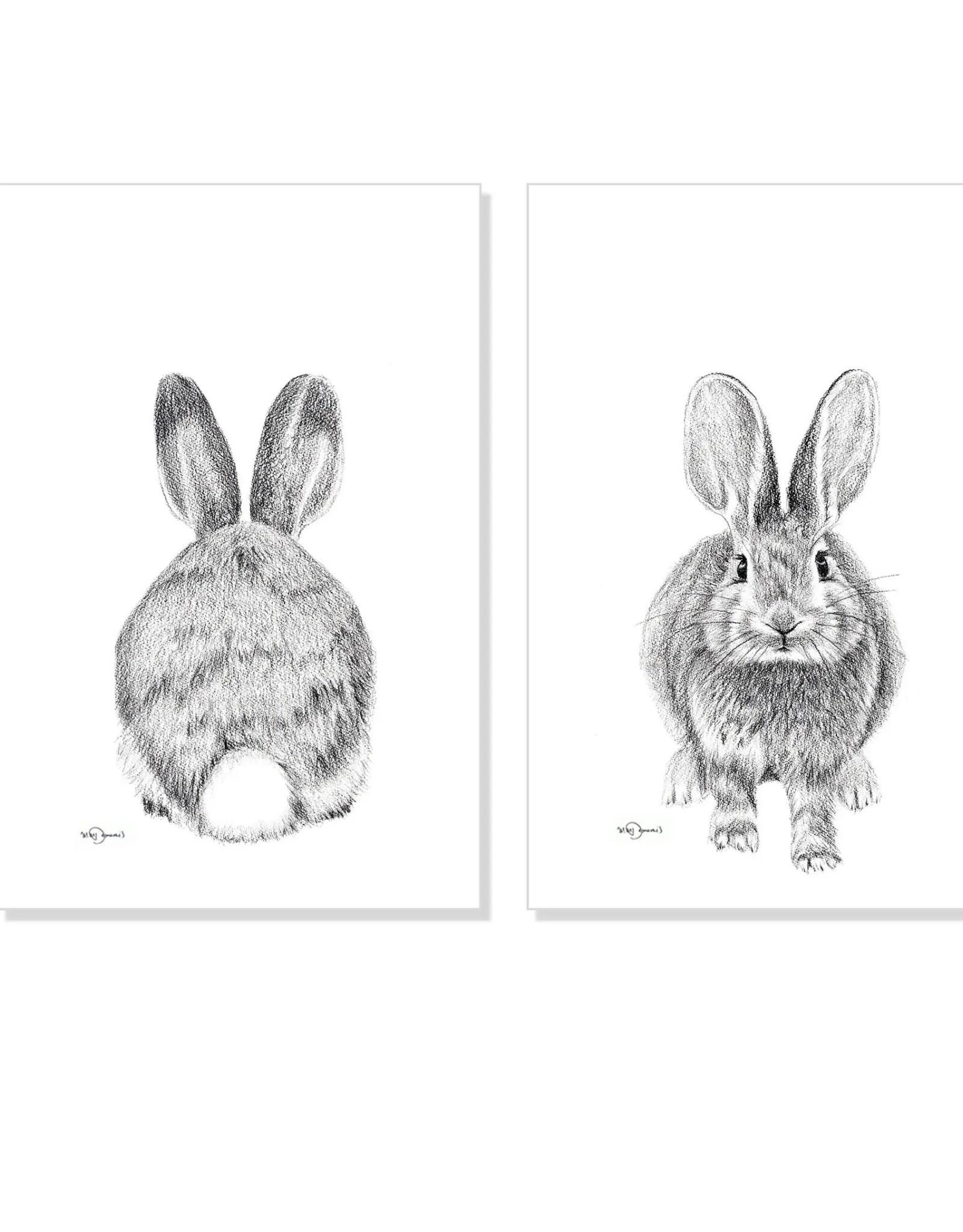 Le Nid - Duo Adorable Rabbits Print  Paper  - 12x18