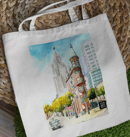 Watercolour Print Canvas Tote Bag-Toronto's Flatiron Building
