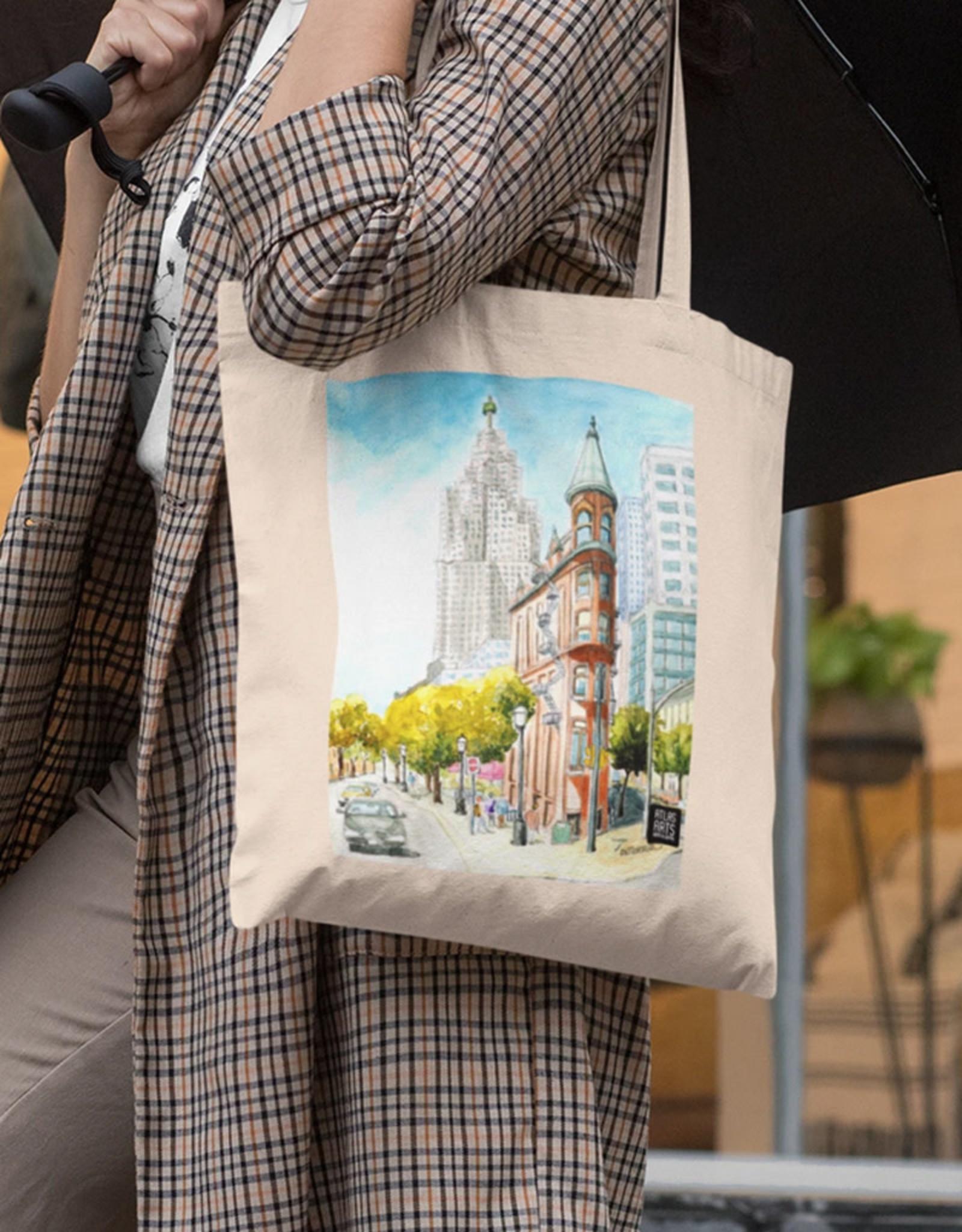 Watercolour Print Canvas Tote Bag-Toronto's Flat Iron Building