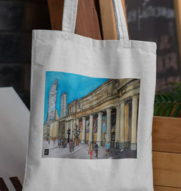Watercolour Print Canvas Tote Bag-Toronto's Union Station