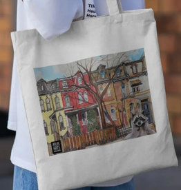 Watercolour Print Canvas Tote Bag-Toronto's Victorian Houses