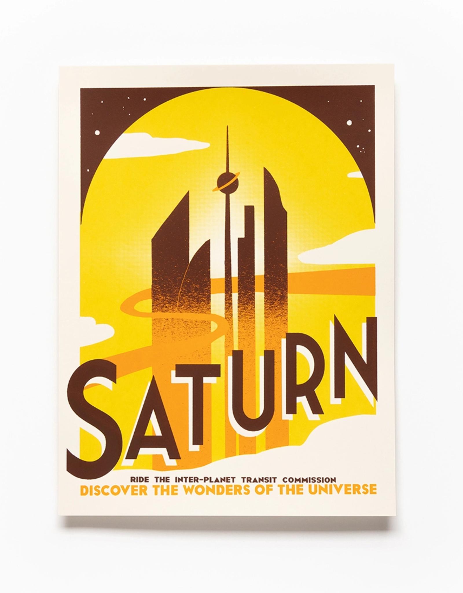 Secret Planet Screen Printed Poster - Saturn