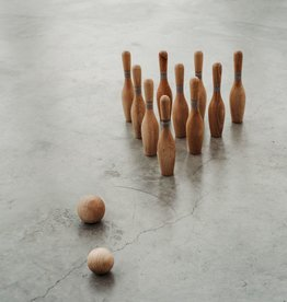 Handmade Natural Wooden Bowling Kit