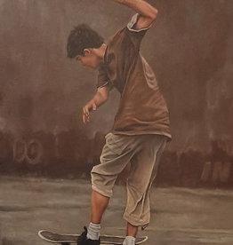 Sandra Manzi Painting - Falling Skateboard Boys #2