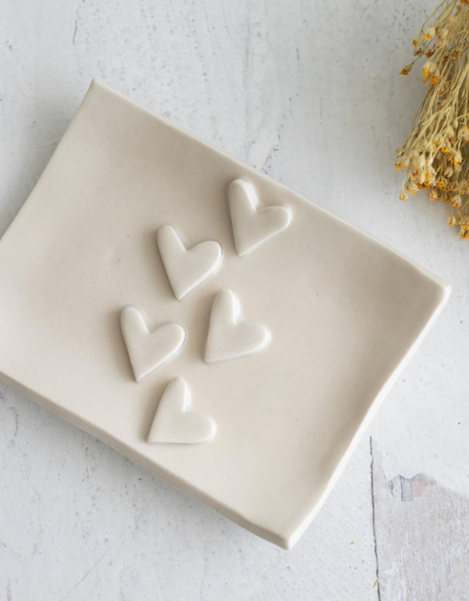 Fox and Beagle Heart Catch Tray - Cream Hearts