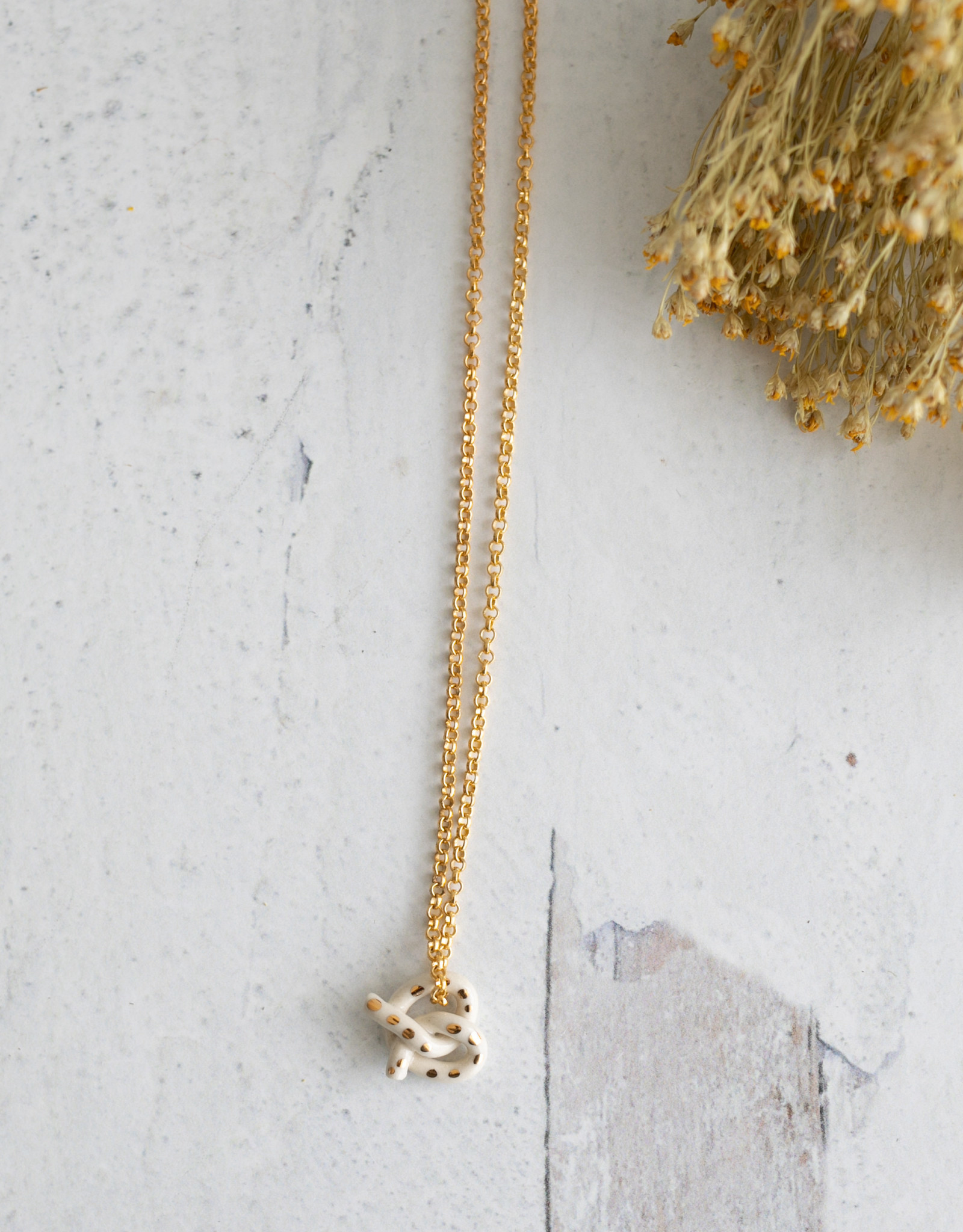 Fox and Beagle Pretzle Necklace - Golden Salted