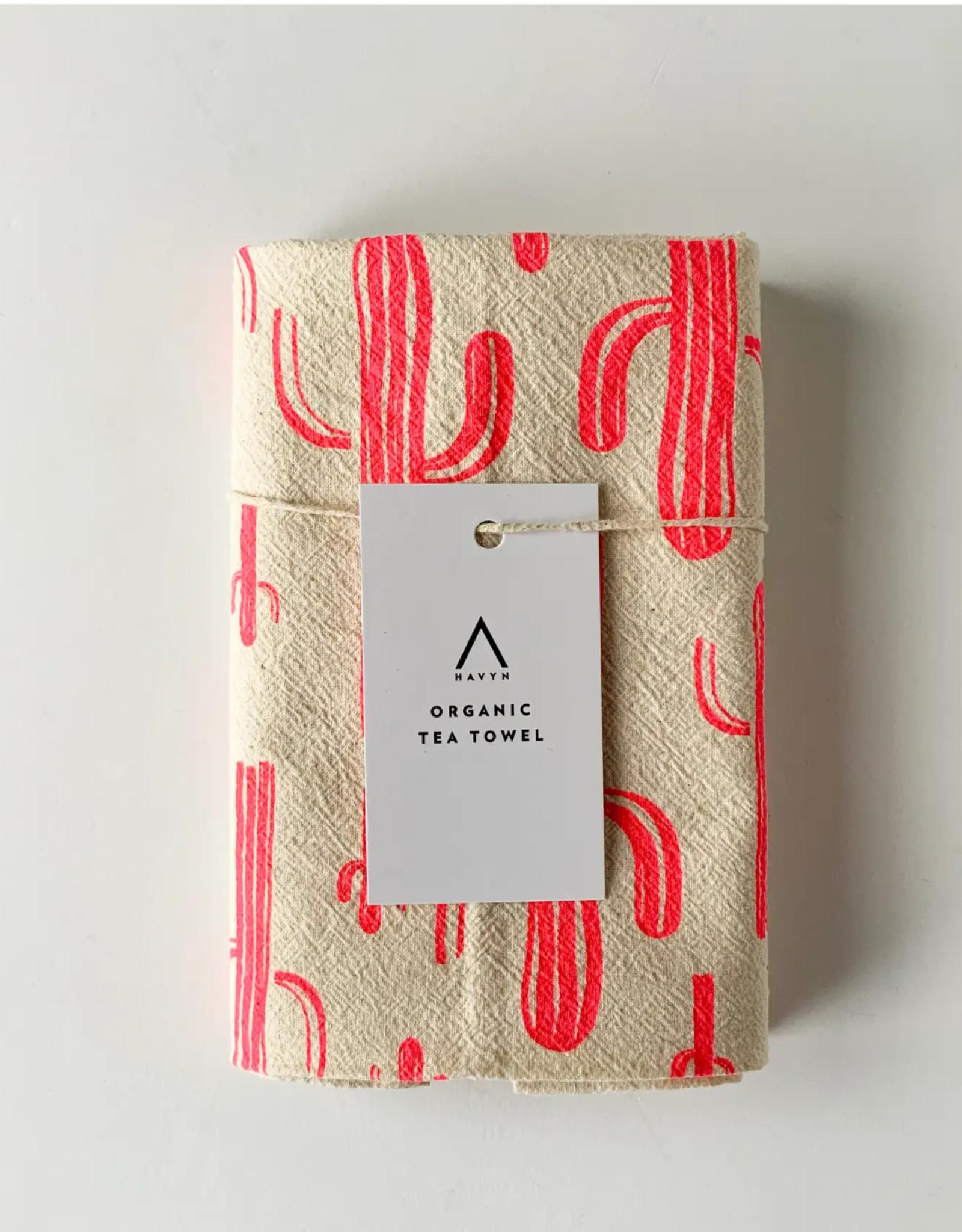 HAVYN Saguaro Cactus Tea Towel - Hot Pink