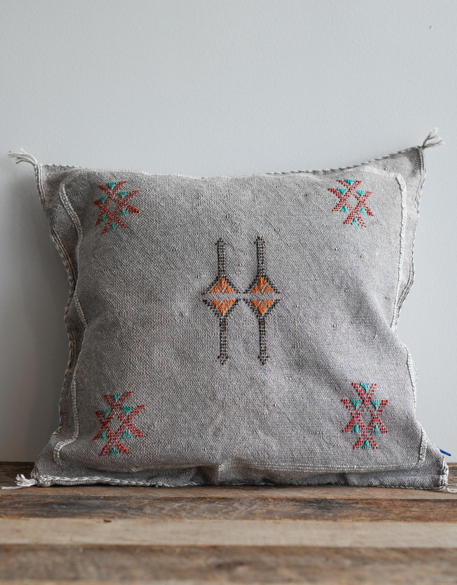 Denim Blue Cactus Silk Cushion with Insert