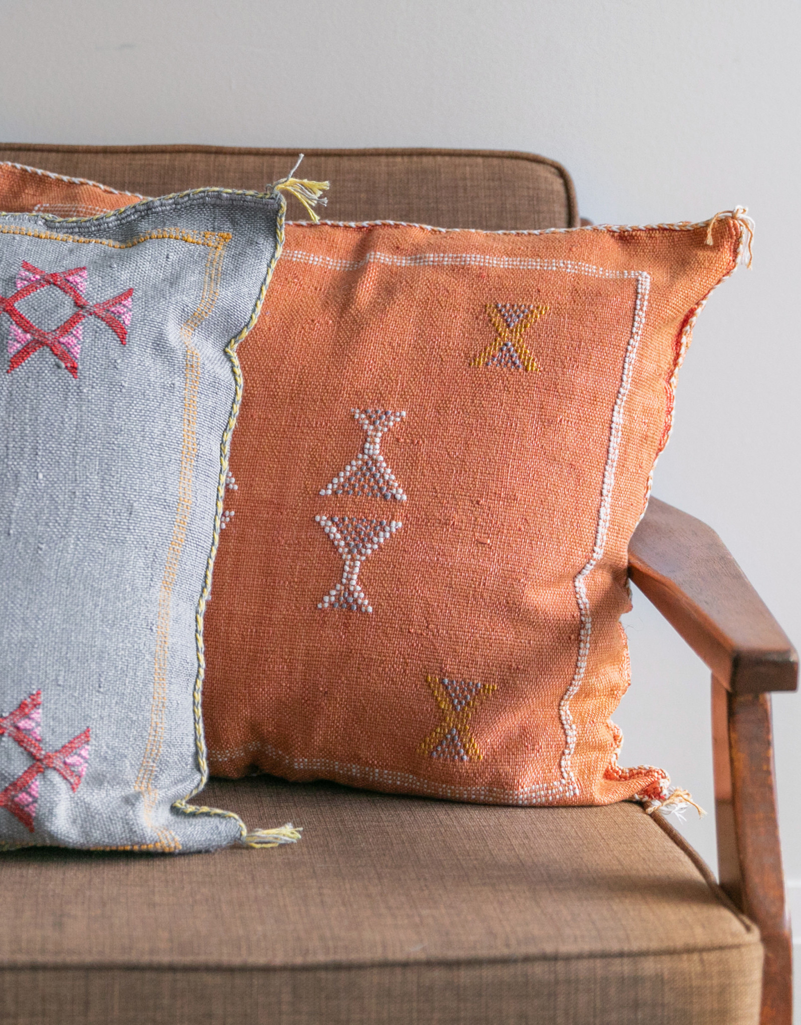 Orange Cactus Silk Cushion with Insert