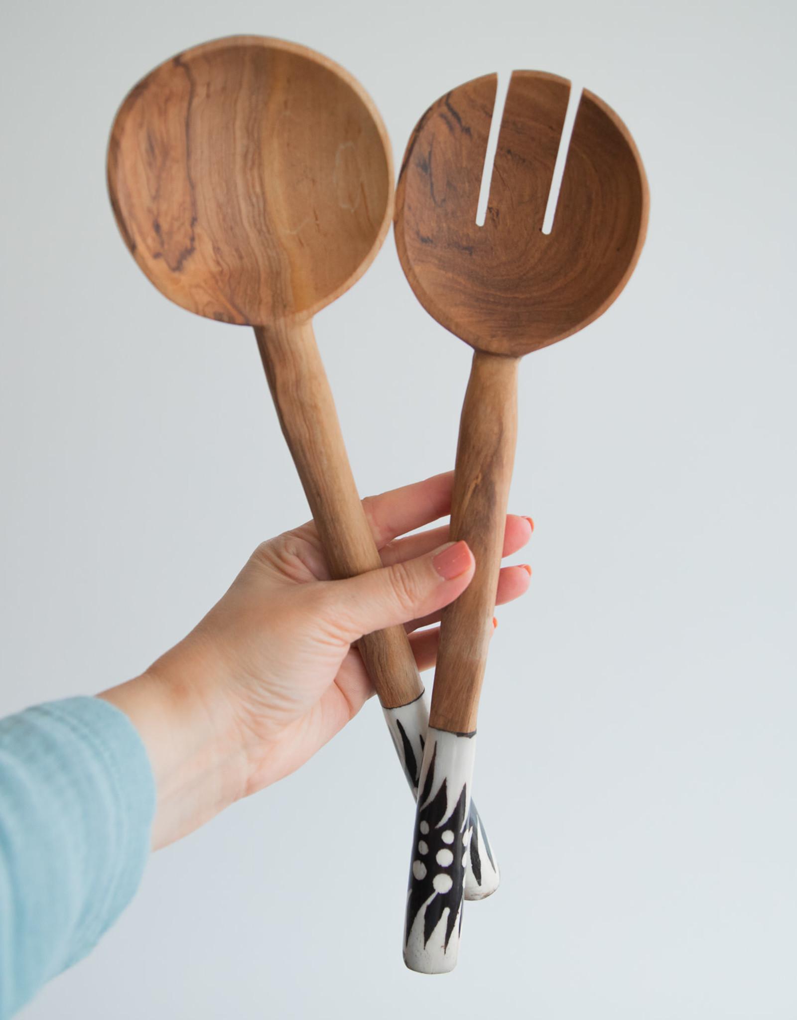 Olive Wood Serving Spoons - Set of 2