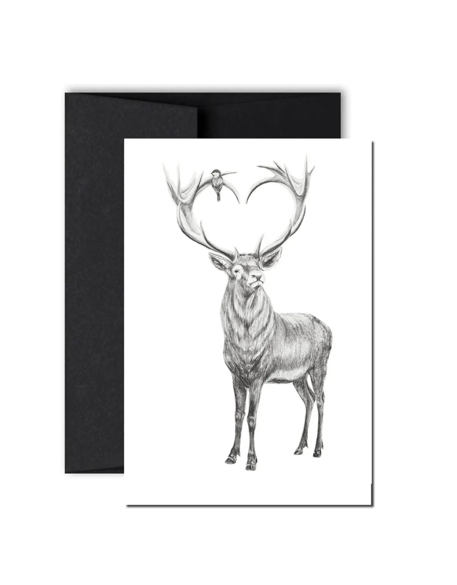 Le Nid - Deer with Heart Shaped Antlers Greeting Card
