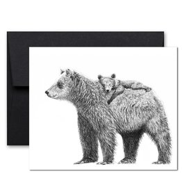 Le Nid - Mother Bear with Cub Greeting Card