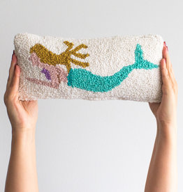 "Mermaid Punch Needle Pillow - 12"" x 5"""