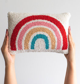"Rainbow Punch Needle Pillow - 8"" x 12"""