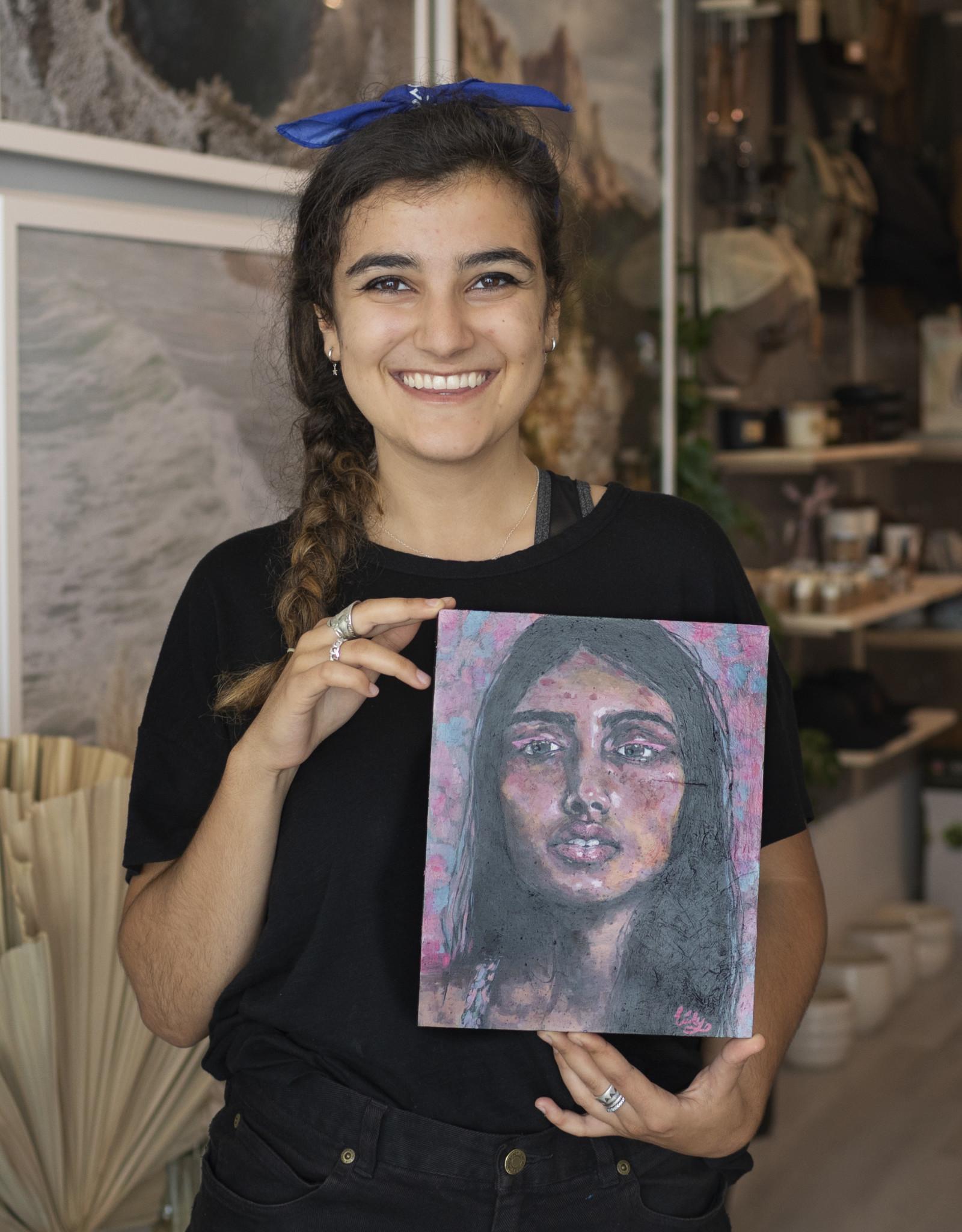 "Emily Bitar Original Acrylic Painting ""As She Rose"" 8x10"