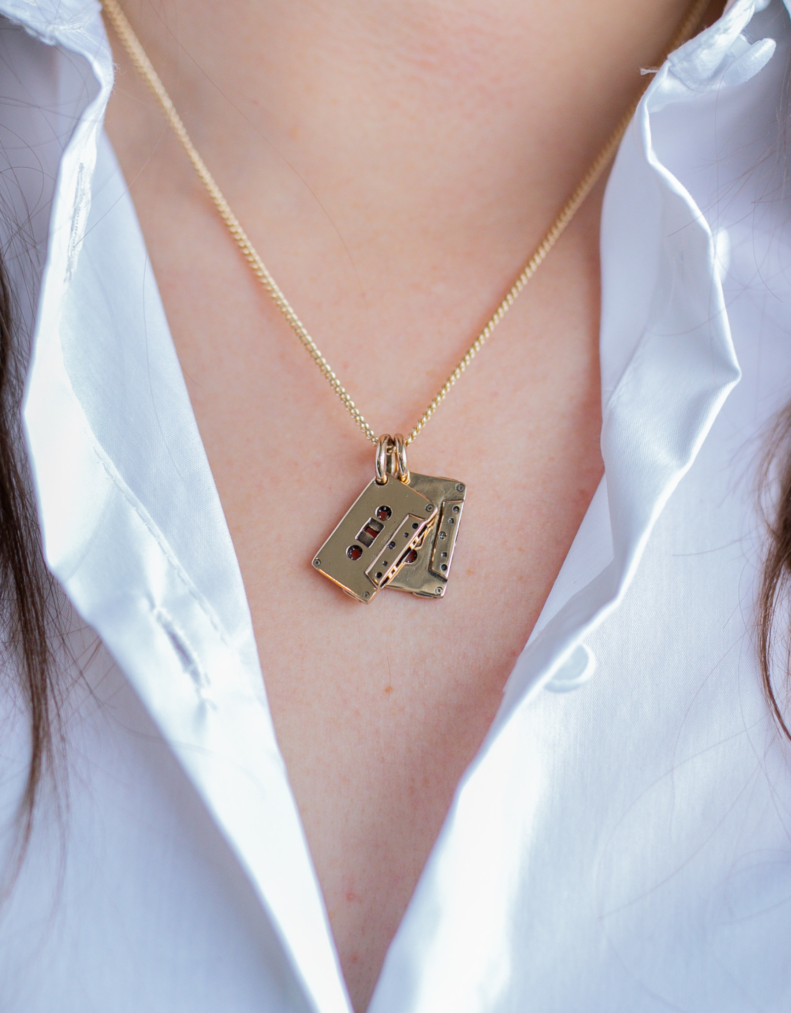 """Lost Apostle - Cassettes Necklace - Bronze - 18"""", gold plated chain"""