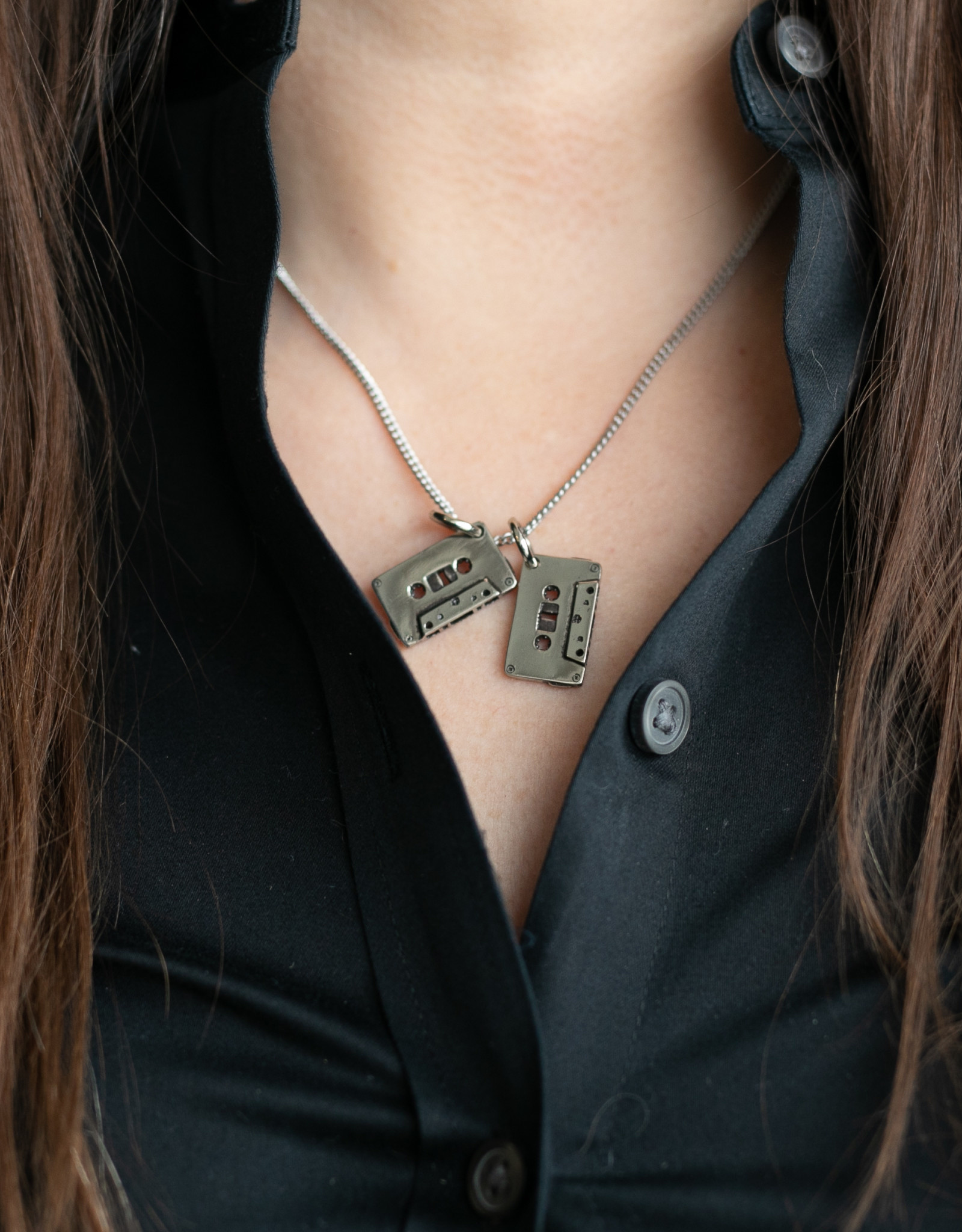 "Lost Apostle - Cassettes Necklace - Silver - 18"" silver chain"